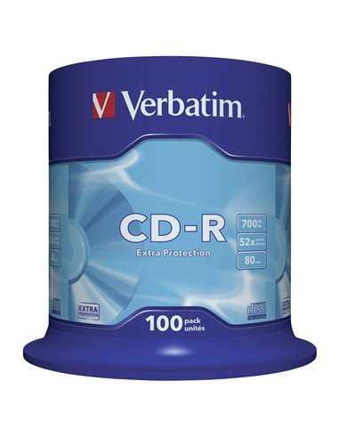 1x100 Verbatim Data Life CD-R 80 700MB, 52x Speed, Spindel